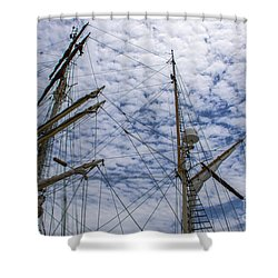 Tall Ship Mast Shower Curtain by Dale Powell