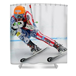 Ted Ligety Skiing  Shower Curtain