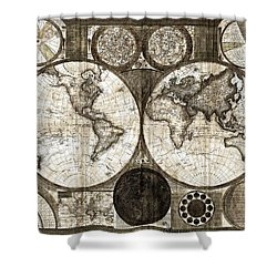 Terraqueous Globe - Map Of The World Shower Curtain by EricaMaxine  Price