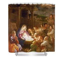 The Adoration Of The Shepherds Shower Curtain by Guido Reni