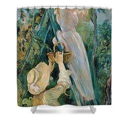 The Cherry Picker  Shower Curtain by Berthe Morisot