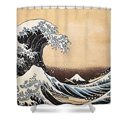 The Great Wave Of Kanagawa Shower Curtain by Hokusai