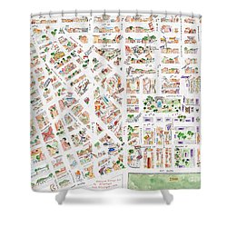 The Greenwich Village Map Shower Curtain