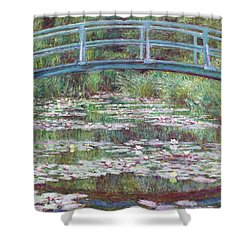 The Japanese Footbridge Shower Curtain by Claude Monet