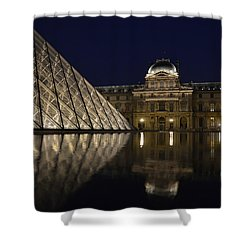 The Louvre Palace And The Pyramid At Night Shower Curtain