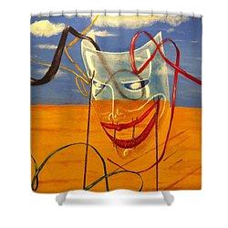 The Transparent Mask Shower Curtain by Safa Al-Rubaye