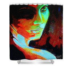 Thoughtful Mute Shower Curtain by Helena Wierzbicki