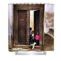 Shower Curtain featuring the photograph Kids Playing Zanzibar Unguja Doorway by Amyn Nasser