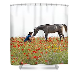 Three At The Poppies' Field... 4 Shower Curtain by Dubi Roman