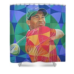 Shower Curtain featuring the drawing Tiger Woods by Joshua Morton