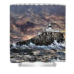 Shower Curtain featuring the painting Tillamook Rock Light by Lynne Wright