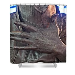 Shower Curtain featuring the photograph Tin Man In Times Square by Lilliana Mendez