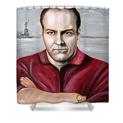 Shower Curtain featuring the painting Tony Soprano by Patrice Torrillo