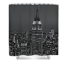 Top Of The Rock Bw Shower Curtain by Susan Candelario