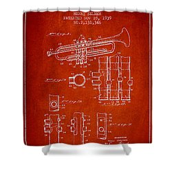 Trumpet Patent From 1939 - Red Shower Curtain by Aged Pixel