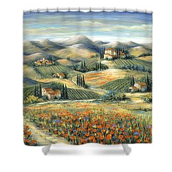 Tuscan Villa And Poppies Shower Curtain by Marilyn Dunlap