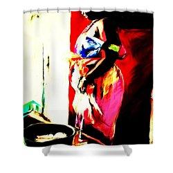 Shower Curtain featuring the painting Ugunda Fish Lady by Vannetta Ferguson