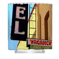 Vacancy Shower Curtain by Valerie Reeves