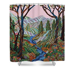 Valley Shower Curtain by Erika Pochybova