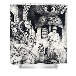 Shower Curtain featuring the drawing Vindobona Altarpiece IIi - Snakes And Ladders by Otto Rapp