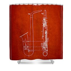 Saxophone Patent Drawing From 1899 - Red Shower Curtain by Aged Pixel