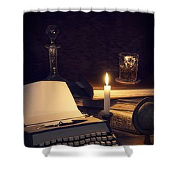Vintage Typewriter Shower Curtain by Amanda Elwell