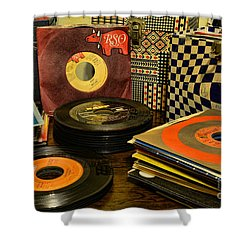 Vintage Vinyl Shower Curtain by Paul Ward