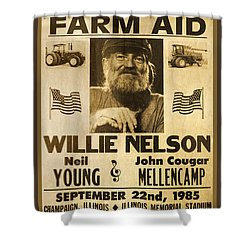 Vintage Willie Nelson 1985 Farm Aid Poster Shower Curtain by John Stephens