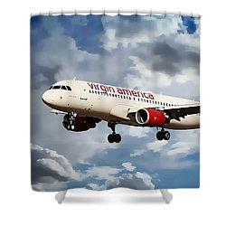 Virgin America Mach Daddy  Shower Curtain by Aaron Berg