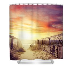 Walkway Shower Curtain by Les Cunliffe