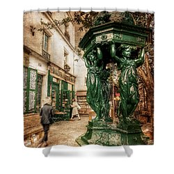 Shower Curtain featuring the photograph Wallace Fountain By Shakespeare And Co / Paris by Barry O Carroll