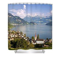 Weggis Switzerland Shower Curtain by Brian Jannsen