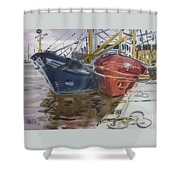 Shower Curtain featuring the painting Wexford Fishing Boats by Donald Maier