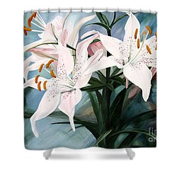 Shower Curtain featuring the painting White Lilies by Laurie Rohner