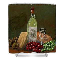 White Wine Shower Curtain