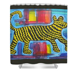 Shower Curtain featuring the painting Wild Cat by Diane Pape