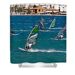 Windsurfing In Vasiliki Bay Shower Curtain