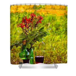 Wine And Flowers Shower Curtain by Les Palenik