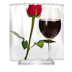 Wine With Red Rose Shower Curtain by Elena Elisseeva