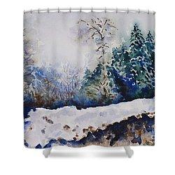 Winter In Dombay Shower Curtain by Zaira Dzhaubaeva