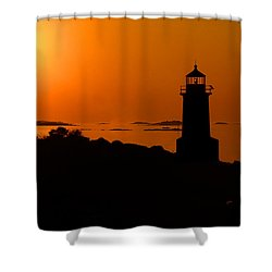 Winter Island Lighthouse Sunrise Shower Curtain