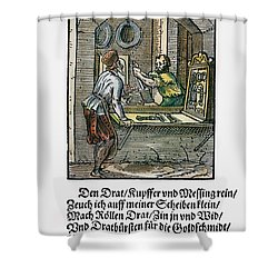 Shower Curtain featuring the drawing Wiredrawer, 1568 by Granger