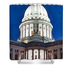 Wisconsin State Capitol Building At Night Shower Curtain by Sebastian Musial