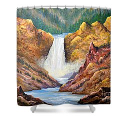 Yellowstone Falls Shower Curtain by Lou Ann Bagnall