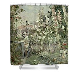 Young Boy In The Hollyhocks Shower Curtain by Berthe Morisot