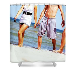 Young Friends On The Summer Beach Shower Curtain by Michal Bednarek