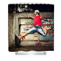 Young Man Jumping On Grunge Wall Shower Curtain by Michal Bednarek