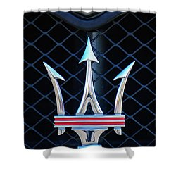 2005 Maserati Gt Coupe Corsa Emblem Shower Curtain by Jill Reger