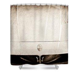 2005 Maserati Mc12 Hood Ornament Shower Curtain by Jill Reger