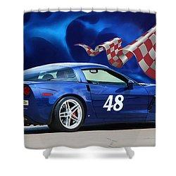 2007 Z06 Corvette Shower Curtain
